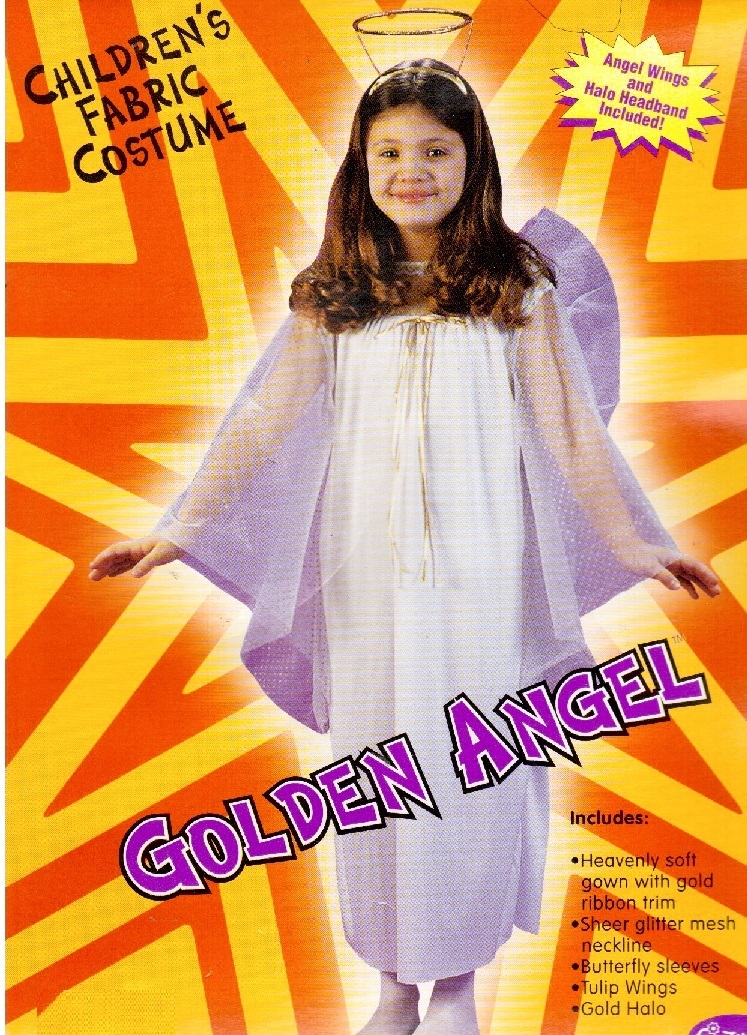 GIRL'S GOLDEN ANGEL COSTUME with HALO & WINGS LG
