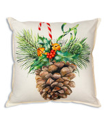 Farmhouse PINE CONE BOUGH COTTON THROW PILLOW Country Christmas Cushion Bed - £29.87 GBP