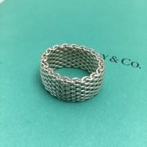 Size 5  Tiffany & Co Silver Somerset Mesh Basket Weave Flexible Unisex Ring - $169.99