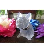 Victorian Czech French Bulldog Boston Terrier Frosted Glass Figurine - $40.74