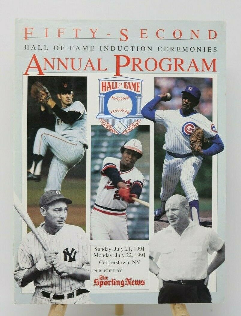 Primary image for 1991 Hall of Fame Fifty-Second Annual Baseball Program