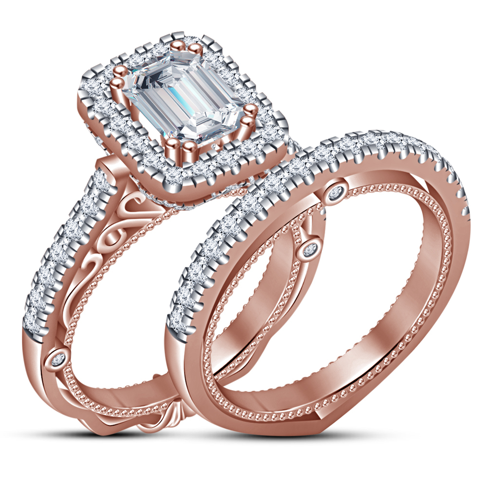 14k Rose Gold Plated SOLID Wedding Engagement Ring and Wedding band 2 piece set
