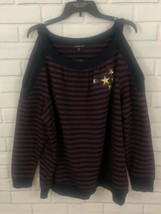 Lane Bryant Knit Top Cold Shoulder Pullover Navy Wine Stripes Gold Stars Nwt - $23.36