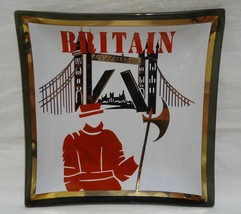 Houze Art Britain Ashtray Glass Dish Guard Tower Bridge Square VTG 1960s... - $11.99