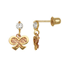 14K Yellow & Rose Gold Diamond Cut Dangle Screw Back Earrings  - $64.99