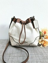 Coach Baby Mickie Drawstring Crossbody Bag Spectator Chalk/Saddle Leathe... - $94.04