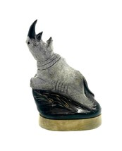 Hand Carved Water Buffalo Horn Scrinshaw Rhino Carving 8.5 inch New Teak... - $38.61
