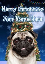 Pug Dog Merry Christmas Personalised Greeting Card Xmas codeTM124 - $3.89