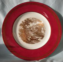Wedgwood Vintage Powder Ruby Greek Key Gold Romantic Castle Scene Dinner Plate - $98.89