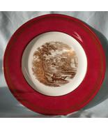 Wedgwood Vintage Powder Ruby Greek Key Gold Romantic Castle Scene Dinner... - $98.89