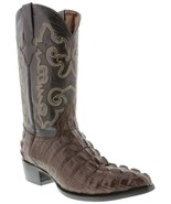 Mens Brown Cowboy Boots Real Leather Embossed Crocodile Tail Western J Toe - $99.99