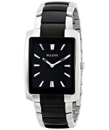 Bulova Black Rectangle Dial Two Tone Steel Classic Mens Watch 98A117 - $147.51