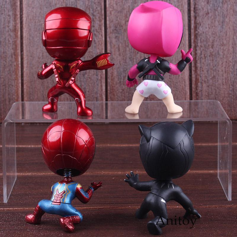 Marvel Comics Super Heroes Iron Man Spiderman Black Panther Deadpool Bobble Head