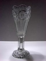 American Brilliant Cut Glass Crystal ABP Zipper Cut Hobstar Trumpet Vase - $85.00