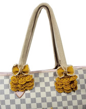 Crochet handle covers for Louis Vuitton Neverfull MM handbag beige yellow - $53.00