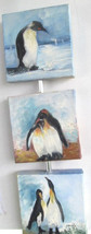 Original Penquins Canvas Acrylic Painting by Artist Claudete Hand Signed - $164.99