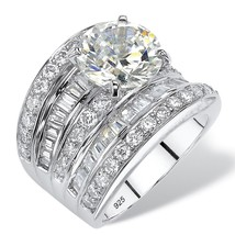 PalmBeach Jewelry 7.14 TCW CZ Scoop Ring in Platinum over .925 Sterling ... - $134.82