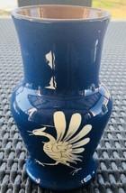 VINTAGE BAUMANN GRUYERES Signed Pottery Vase Blue White Crane Swiss Folk... - $23.38