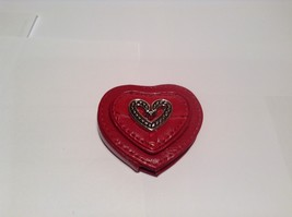 NEW Red Leather Pocket Mirror w Silver Heart