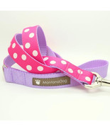 Candy Dot: White on Pink Grosgrain Dog Leash (120cm, 4ft.) / Made in Japan - $36.00