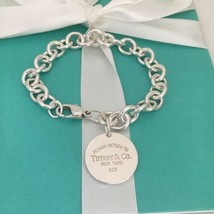"""Large 8.75"""" Please Return to Tiffany & Co Silver Round Tag Dangle Charm Bracelet - $269.00"""
