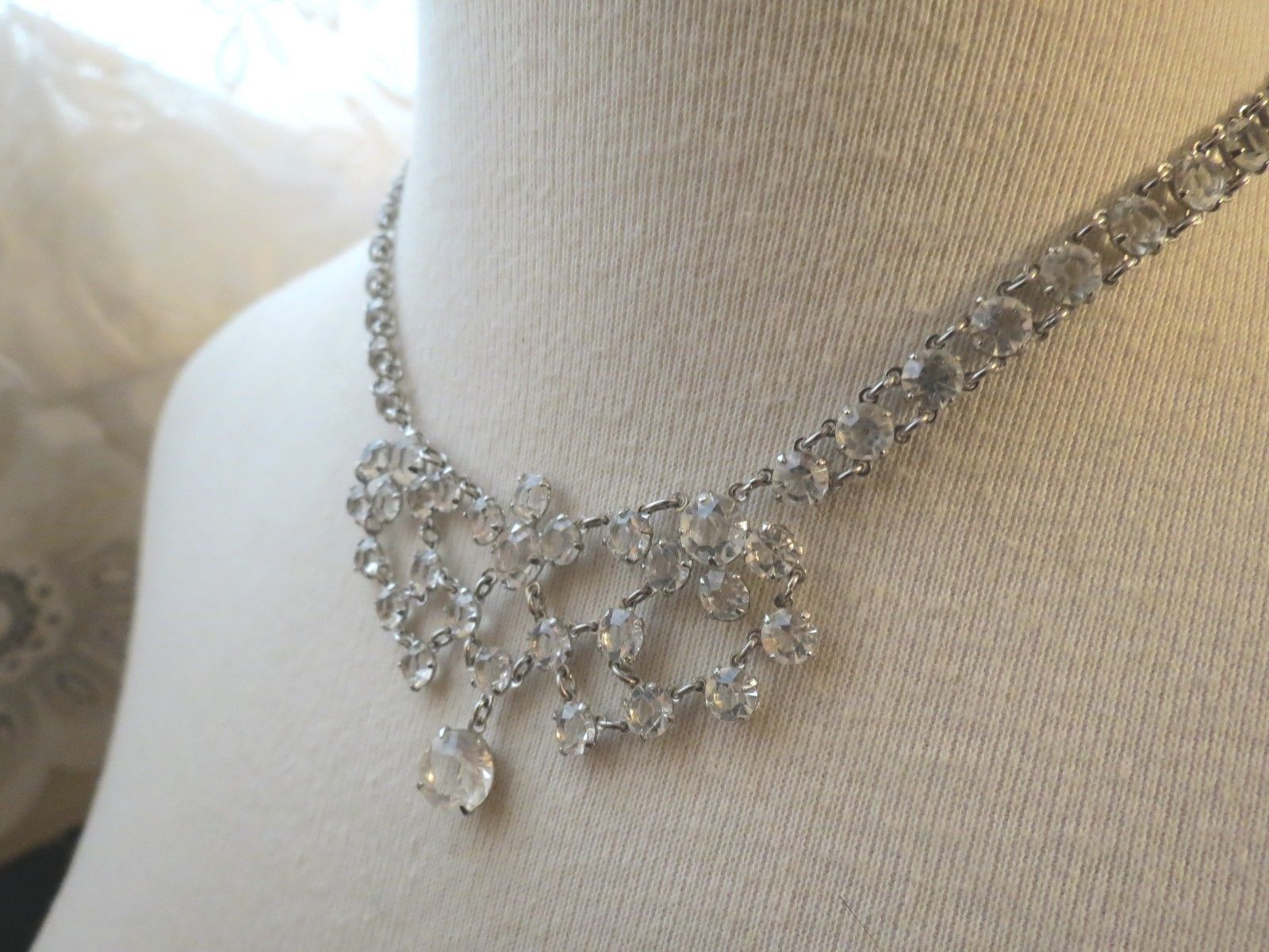 VTG Bezel Set Clear Crystal Necklace Choker Mini Bib Silver Plated Dangle Fringe image 2