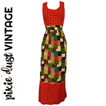 Vintage Prairie Dress 70s Calico Apron Patchwork Boho Hippie Boho Size M... - $40.71