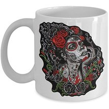Sugar Skull Coffee Mug - Lady Skulls Ceramic Cup - White Black Day of th... - $14.95+