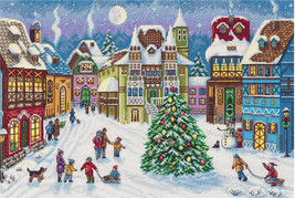 Cross Stitch Hand Embroidery Kit Winter Wonderland Magic Christmas - $33.00