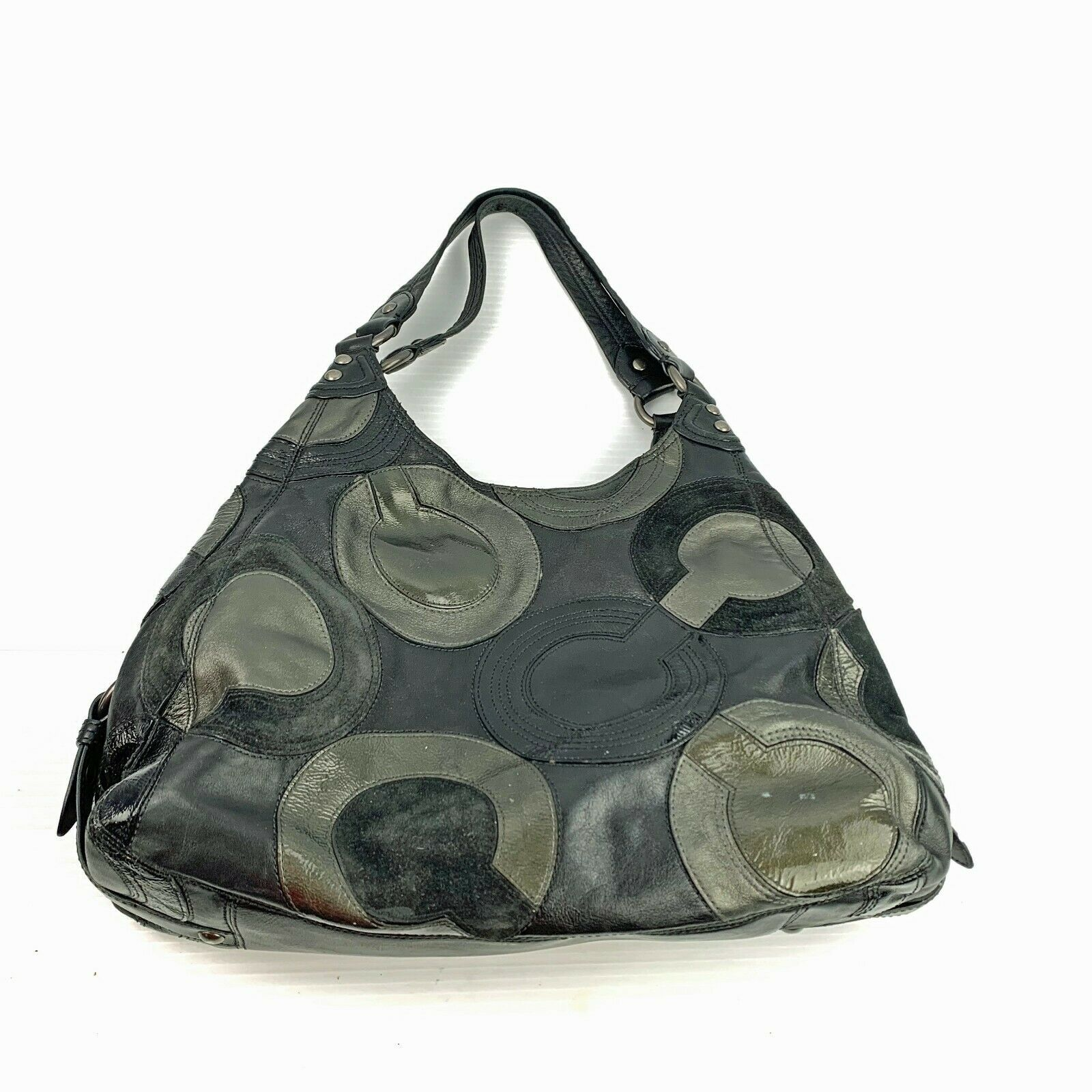 Authentic COACH Inlaid Op Art Maggie Leather Hobo Shoulder Bag F0969-14298