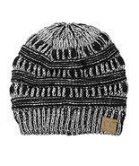 C.C Trendy Warm Chunky Soft Stretch Cable Knit Beanie Skully, Black/Met.... - ₨955.71 INR