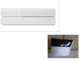 $255.00 Ralph Lauren Bedford Jacquard Flat Sheet, Queen, Classic White - $46.78