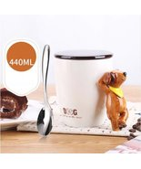 3D Handle Dog Mug Ceramic Coffee Milk Tea Cup Handicraft Gifts + Cover +... - $33.93