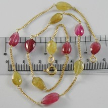 18K YELLOW GOLD MINI GOURMETTE CHAIN NECKLACE WITH DROP TOURMALINE MADE IN ITALY image 1