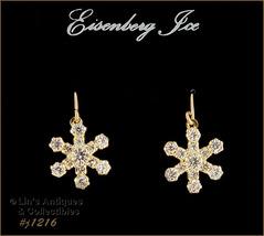 EISENBERG ICE RHINESTONE SNOWFLAKE GOLD TONE DANGLE PIERCED EARRINGS (#J... - $30.00