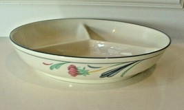 "Lenox China Chinastone Poppies on Blue 3 Part Round Divided Server 10 3/8"" - $34.65"