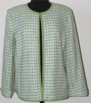 SAG HARBOR TWEED JACKET BLAZER Size 14  GREEN BLUE LINED NEW - $58.04