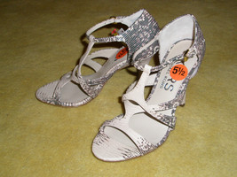 New KORS by Michael Kors T-strap Leather Snake Python Sandals Shoes Sz 5... - $63.57