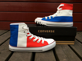 France Flag Design Converse Shoes Man Woman Hand Painted Canvas Sneakers... - $149.00