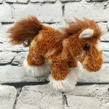 Aurora Clydesdale Horse Plush Brown White Long Hair Stuffed Animal Soft Toy - $7.91
