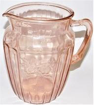 "Anchor Hocking Depression Glass Pink Mayfair Open Rose 60 oz. 8.5"" Pitcher - $64.35"