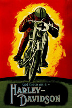 American Motorcycle Get There On A Harley Davidson Bike Vintage Poster Repro - $10.96+