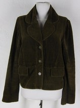 ELEVENSES Anthropologie Cotton Corduroy Jacket 12 L Olive Brown Green Re... - $19.93