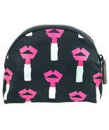 Lulu Guinness Tape Lipstick Make Up Bag Case Travel Pouch Black Lips - $98.97