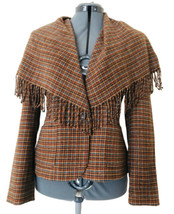 WORTH Shawl Collar Jacket Size 4 Womens Brown Checkered Camel Hair Butto... - $33.35