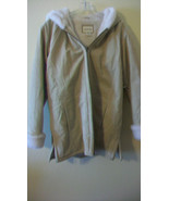 WOMEN'S ST. JOHNS BAY WINTER HOODED COAT, LEATHER WITH FAUX FUR, SIZE ME... - $148.49
