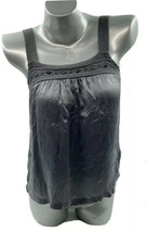 Forever 21 Silk Tank Top Gray Small Jeweled Sleeveless Cami Womens - $13.86