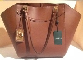Lauren Ralph Lauren Lexington Shopper Tote Handbag Bourbon LRL Luggage T... - $199.00