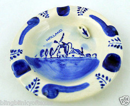 Netherlands Blue and White Ashtray Dutch Holland Souvenir - $24.63
