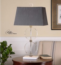 "URBAN DECOR 33"" CRYSTAL DISKS NICKEL METAL TABLE BUFFET LAMP WHITE MARBL... - $305.80"